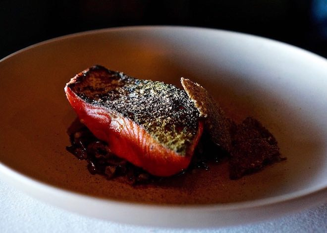 Canlis-Sockeye-salmon-wild-rice-green-tomato-spruce-tips-credit-Amber-Gibson