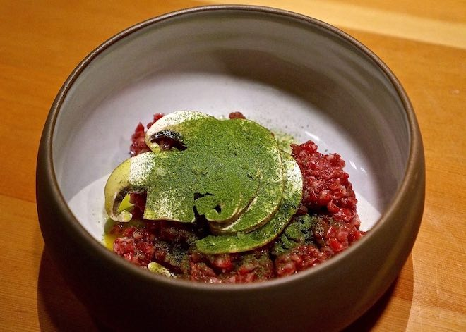 Scout-Aged-zabuton-tartare-egg-champignons-lovage-credit-Amber-Gibson