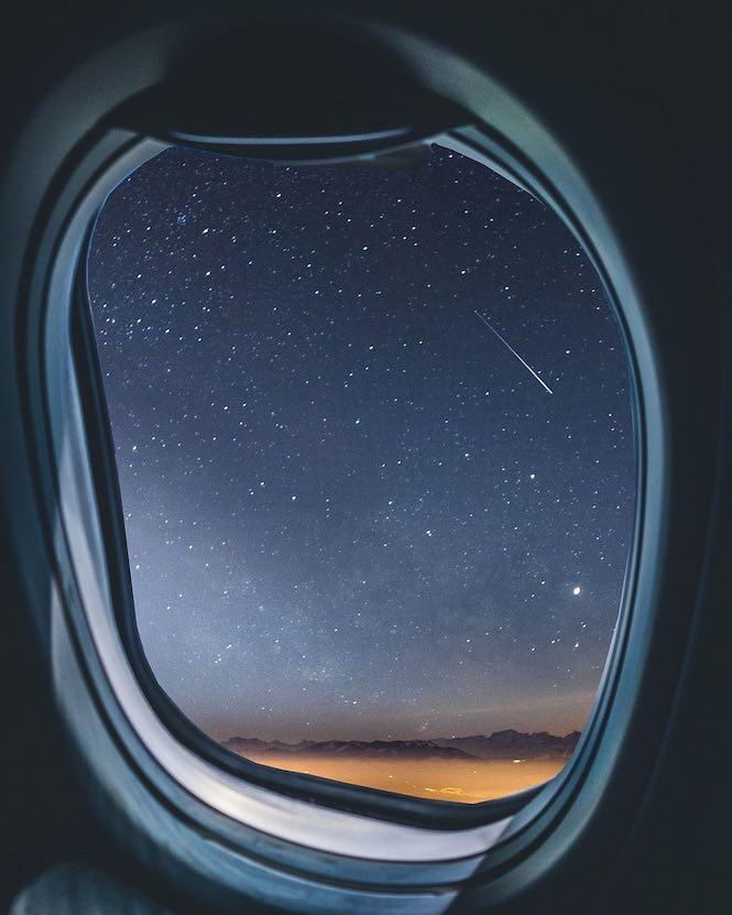 Star gazing from the window seat